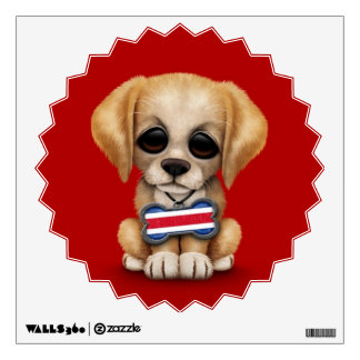 Cute Puppy with Costa Rican Flag Dog Tag, red Wall Sticker