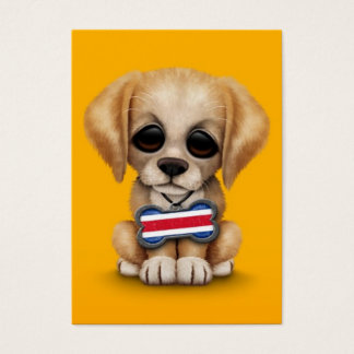 Cute Puppy with Costa Rican Flag Dog Tag, yellow Business Card