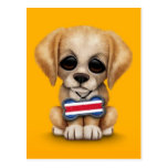 Cute Puppy with Costa Rican Flag Dog Tag, yellow Postcard