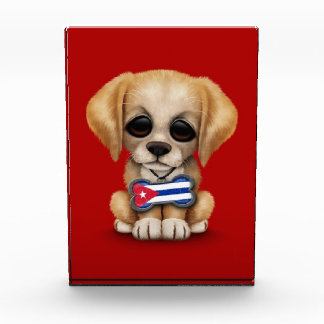 Cute Puppy with Cuban Flag Pet Tag red Awards