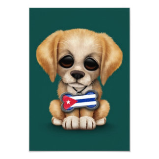 Cute Puppy with Cuban Flag Pet Tag, teal blue Invitations