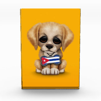 Cute Puppy with Cuban Flag Pet Tag yellow Awards