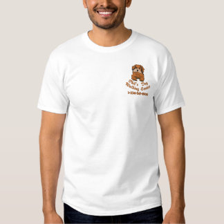 Cute Puppy With Customizable Text Embroidered T-Shirt