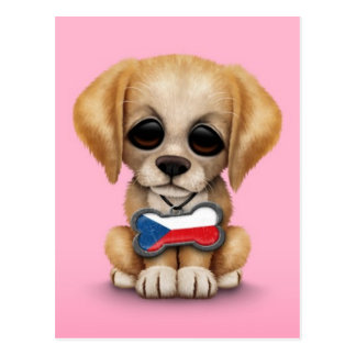 Cute Puppy with Czech Republic Flag Dog Tag, pink Postcard