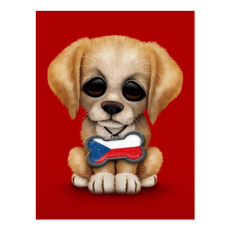 Cute Puppy with Czech Republic Flag Dog Tag, red Postcard