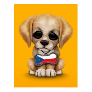Cute Puppy with Czech Republic Flag Tag, yellow Postcard