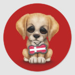 Cute Puppy with Danish Flag Dog Tag, red Sticker