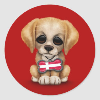 Cute Puppy with Danish Flag Dog Tag, red Classic Round Sticker