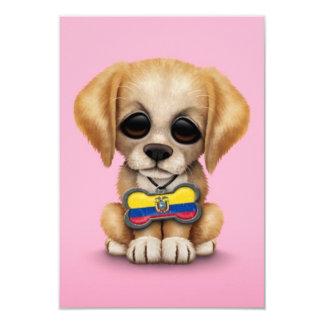 Cute Puppy with Ecuadorian Flag Dog Tag, pink 3.5x5 Paper Invitation Card