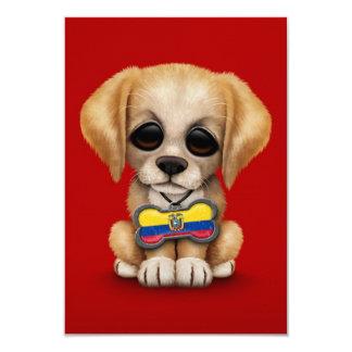 Cute Puppy with Ecuadorian Flag Dog Tag, red 3.5x5 Paper Invitation Card