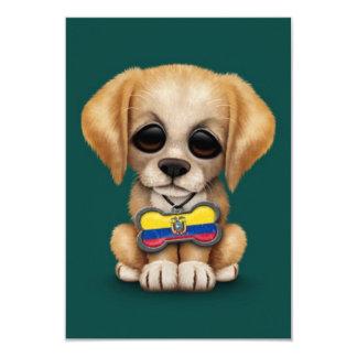 Cute Puppy with Ecuadorian Flag Dog Tag, teal 3.5x5 Paper Invitation Card
