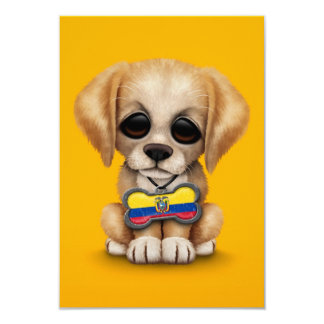 Cute Puppy with Ecuadorian Flag Dog Tag, yellow 3.5x5 Paper Invitation Card