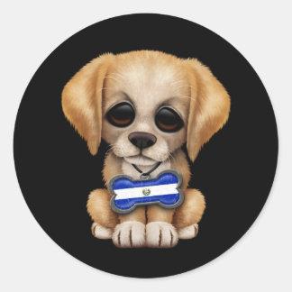 Cute Puppy with El Salvador Flag Dog Tag, black Classic Round Sticker