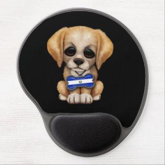 Cute Puppy with El Salvador Flag Dog Tag, black Gel Mouse Pad