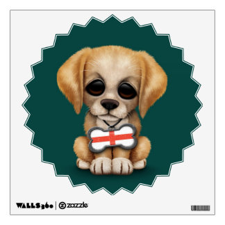 Cute Puppy with English Flag Dog Tag, teal Wall Decal