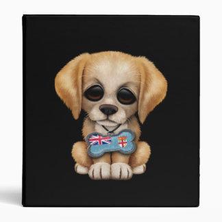 Cute Puppy with Fiji Flag Dog Tag black Binders