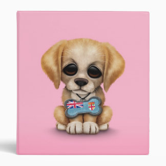 Cute Puppy with Fiji Flag Dog Tag pink Vinyl Binders