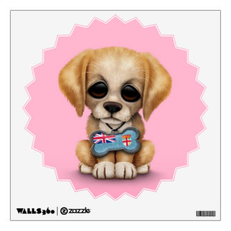 Cute Puppy with Fiji Flag Dog Tag, pink Wall Decal