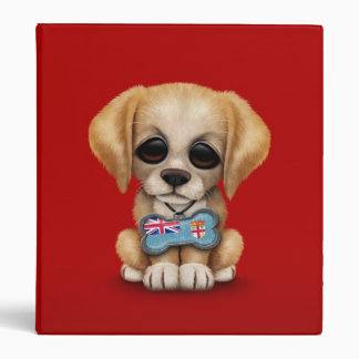 Cute Puppy with Fiji Flag Dog Tag red 3 Ring Binders