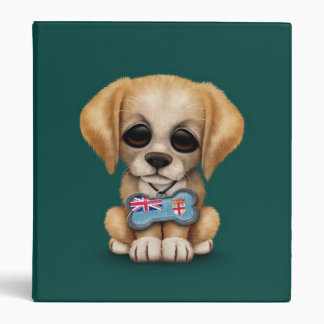 Cute Puppy with Fiji Flag Dog Tag teal Vinyl Binder