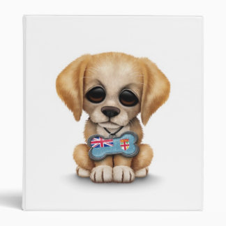 Cute Puppy with Fiji Flag Dog Tag white 3 Ring Binder