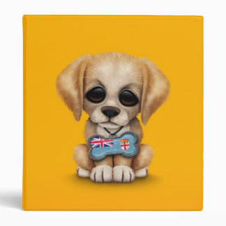 Cute Puppy with Fiji Flag Dog Tag yellow 3 Ring Binders
