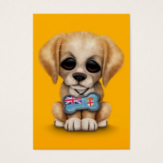 Cute Puppy with Fiji Flag Dog Tag, yellow Business Card