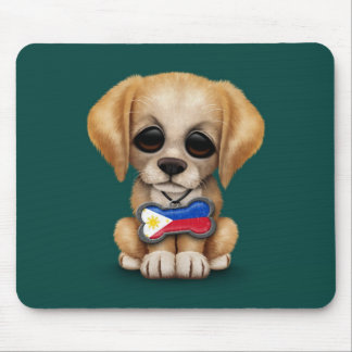 Cute Puppy with Filipino Flag Dog Tag, teal Mouse Pad