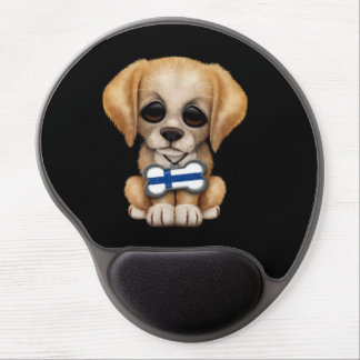 Cute Puppy with Finnish Flag Dog Tag, black Gel Mouse Pad