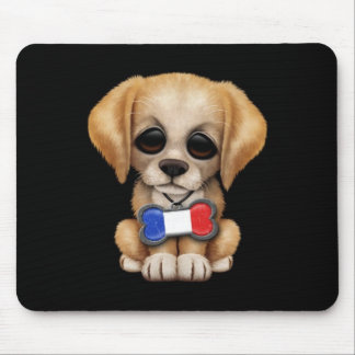 Cute Puppy with French Flag Pet Tag Black Mouse Pads