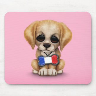 Cute Puppy with French Flag Pet Tag Pink Mousepads
