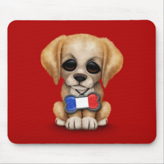 Cute Puppy with French Flag Pet Tag Red Mouse Pads