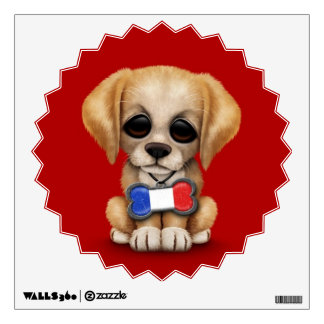 Cute Puppy with French Flag Pet Tag, Red Wall Sticker