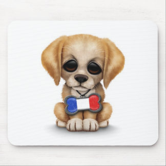 Cute Puppy with French Flag Pet Tag White Mousepad