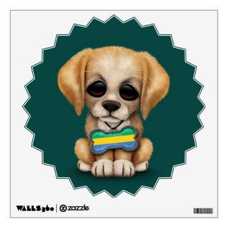 Cute Puppy with Gabon Flag Dog Tag, teal Wall Decal