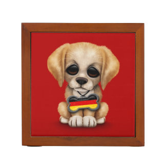Cute Puppy with German Flag Dog Tag, red Pencil Holder