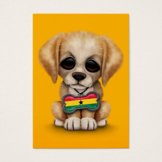 Cute Puppy with Ghana Flag Dog Tag, yellow Business Card