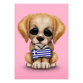 Cute Puppy with Greek Flag Dog Tag, pink Business Cards