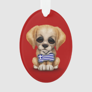 Cute Puppy with Greek Flag Dog Tag, red Ornament