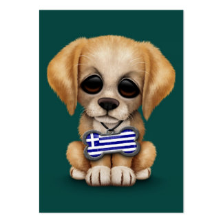 Cute Puppy with Greek Flag Dog Tag, teal Business Card Template