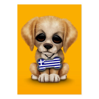 Cute Puppy with Greek Flag Dog Tag, yellow Business Card Template