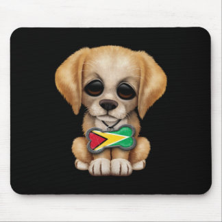 Cute Puppy with Guyanese Flag Dog Tag, black Mouse Pad