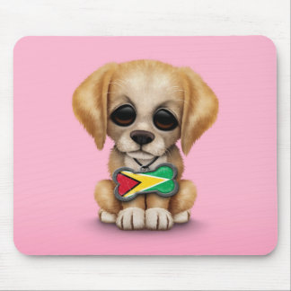 Cute Puppy with Guyanese Flag Dog Tag, pink Mouse Pad
