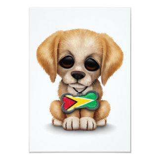 Cute Puppy with Guyanese Flag Dog Tag, white Card