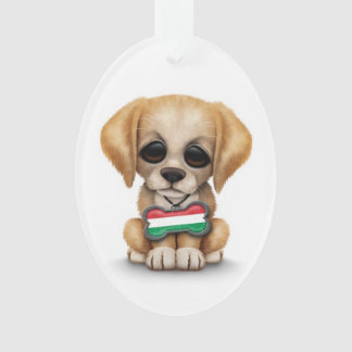 Cute Puppy with Hungarian Flag Dog Tag, white Ornament