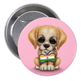 Cute Puppy with Indian Flag Dog Tag, pink Pinback Button