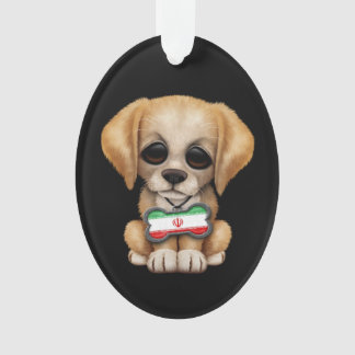 Cute Puppy with Iranian Flag Dog Tag, black Ornament