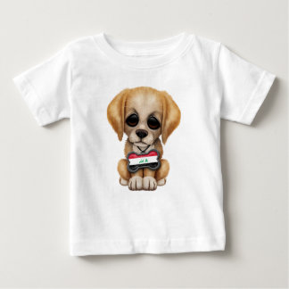 Cute Puppy with Iraqi Flag Dog Tag Baby T-Shirt