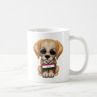 Cute Puppy with Iraqi Flag Dog Tag Mugs