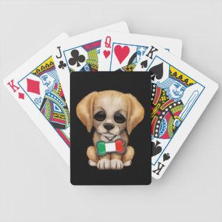Cute Puppy with Italian Flag Pet Tag Black Bicycle Card Decks